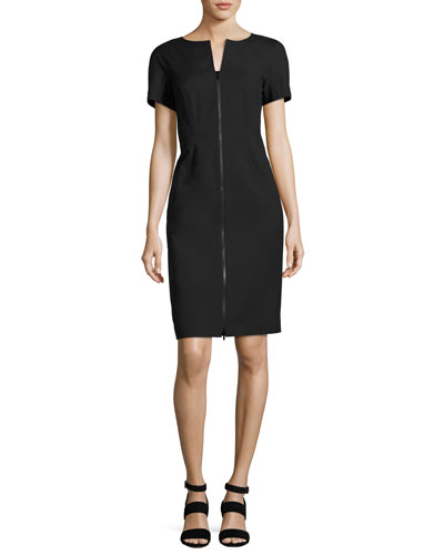 Deja Zip-Front Bi-Stretch Sheath Dress, Black, Plus Size