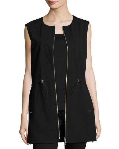 Punto Milano Zip-Front Vest, Black, Plus Size