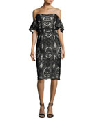 Hawley Off-the-Shoulder Baroque Lace Cocktail Dress, Black