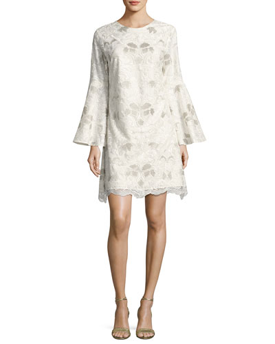 Libby Bell-Sleeve Floral Lace Cocktail Dress, White/Silver