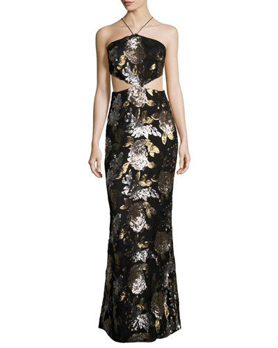 Arianna Sequined Cutout Gown, Black/Multicolor