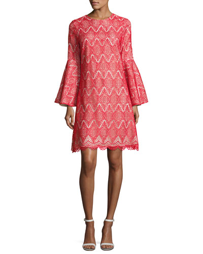 Libby Bell-Sleeve Geometric Lace Cocktail Dress, Bright Red