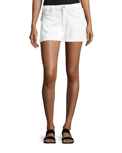 Asha Mid-Rise Cuffed Denim Shorts, White