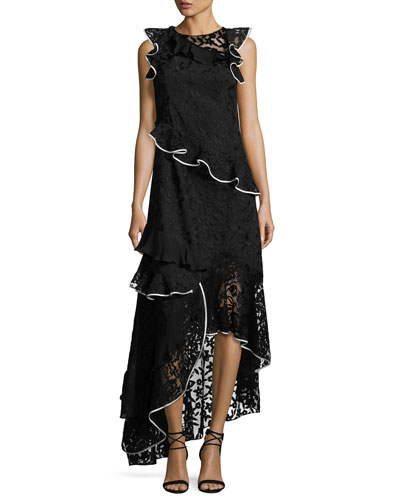 Harmany Sleeveless Asymmetric Floral Lace Ruffle Gown, Black