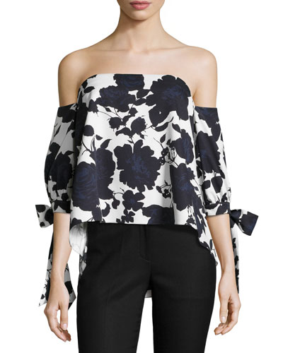 Elena Off-the-Shoulder Floral Stretch Ottoman Top, Blue/White