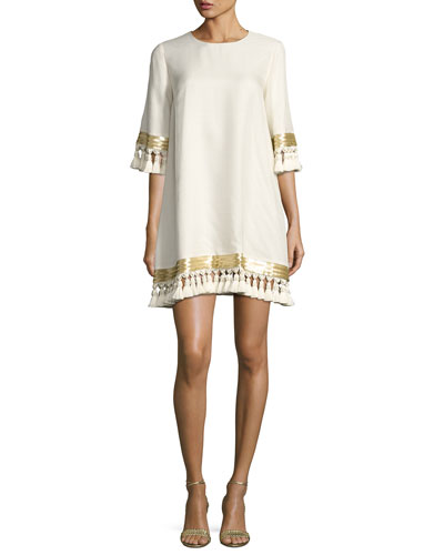 Shimmy Shimmy Tassel Cocktail Dress, Ivory
