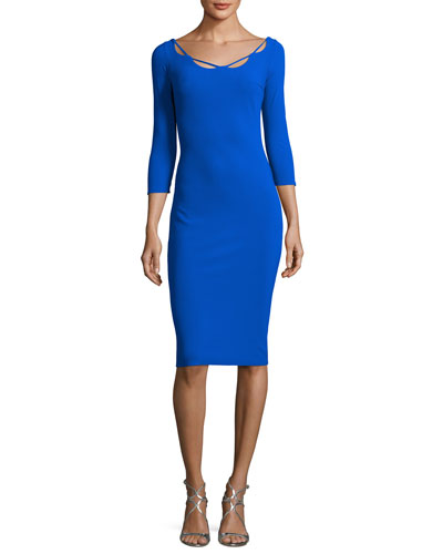 Edwige 3/4-Sleeve Piped Cocktail Dress, Blue