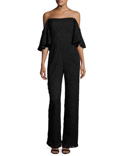Rosanna Off-the-Shoulder Floral Lace Jumpsuit, Black