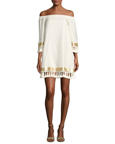 Off-the-Shoulder Tassel Cocktail Dress, Ivory