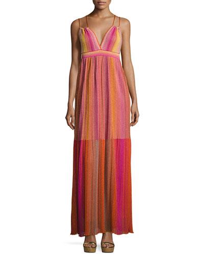 Strappy Metallic Plisse Maxi Dress