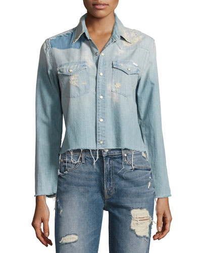 Super Ex's Crop Fray Shirt, Indigo