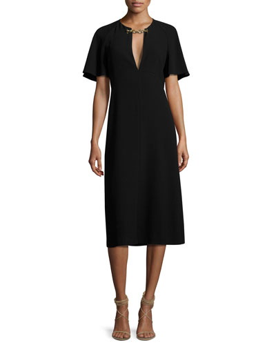 Lindsay Flutter-Sleeve Dress w/ Chain