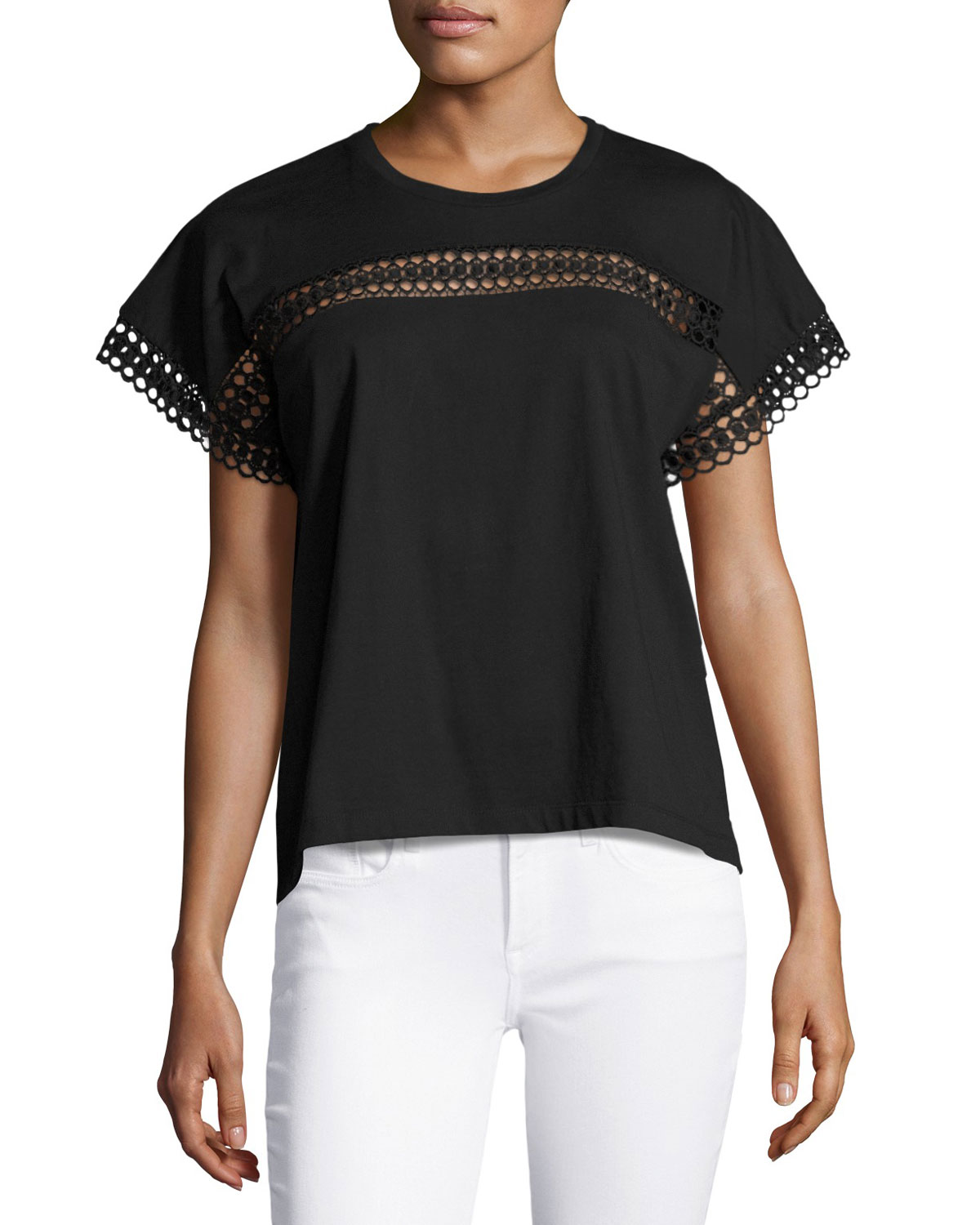 Lace-Insert Cotton Tee, Black