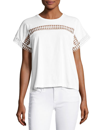 Lace-Insert Cotton Tee, White