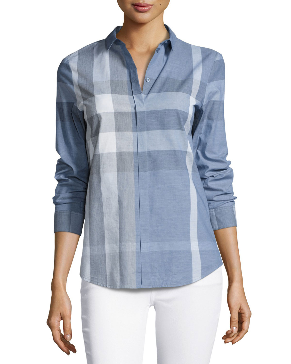 Check Long-Sleeve Cotton Shirt, Blue