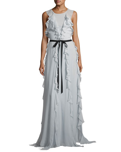 Crawford Sleeveless Chiffon Ruffle Gown, Blue