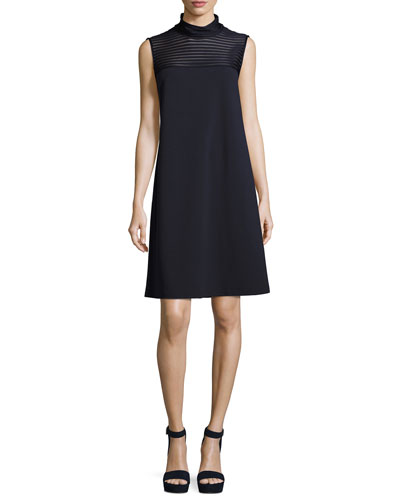 Mock-Neck Dress w/ Mesh-Stripe Yoke, Dark Blue