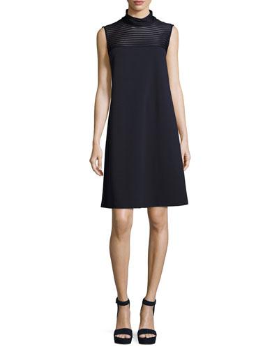 Mock-Neck Dress w/ Mesh-Stripe Yoke, Dark Blue
