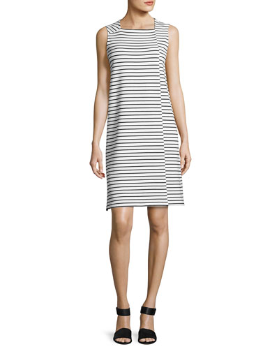 Sleeveless Square-Neck Striped Dress, White/Black