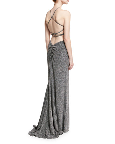 Sleeveless Cross-Back Metallic Column Gown, Silver
