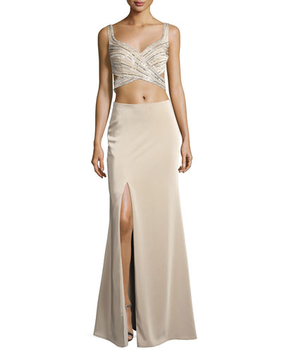 Sleeveless Beaded Cutout Gown, Nude