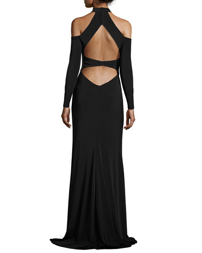 Long-Sleeve Jersey Cold-Shoulder Gown, Black