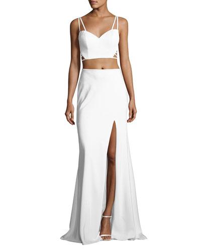 Sleeveless Crepe Lattice Two-Piece Gown, White