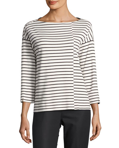 3/4-Sleeve Bateau-Neck Striped Top, White/Black