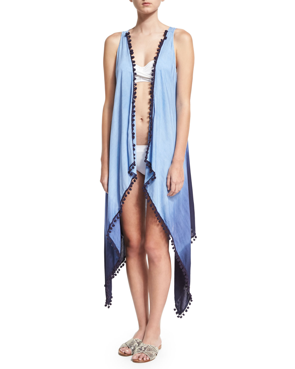 Tribal Romance Ombre-Printed Coverup, Blue