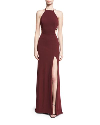 Sleeveless Crepe Lattice Gown, Wine