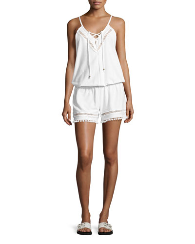 Juliet Solids Sleeveless Romper Coverup, White