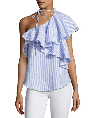 Florinda One-Shoulder Ruffle Linen Top, Multi