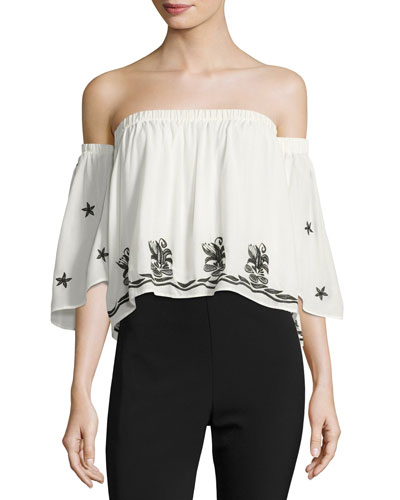 Bolero Embellished Off-the-Shoulder Top, White