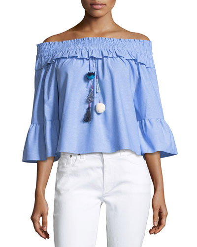 Alma Off-the-Shoulder Poplin Top, Blue