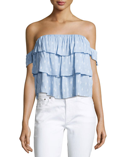 Kaia Off-the-Shoulder Tiered Ruffled Top, Multipattern