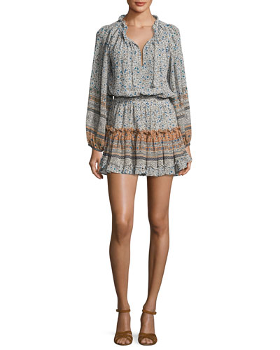 Lorena Long-Sleeve Mini Dress, Multipattern