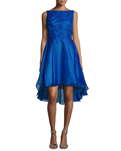 Embellished High-Low Cocktail Dress, Cobalt