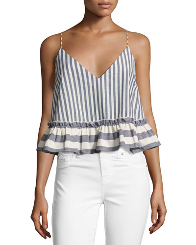 Santorini Stripe Camisole Top, Blue/White