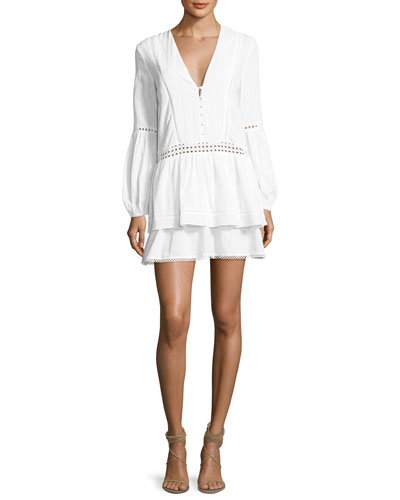 Cotton Voile Long-Sleeve Mini Dress, White