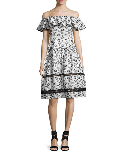 Camelia Embroidered Cotton Midi Dress, Black/White