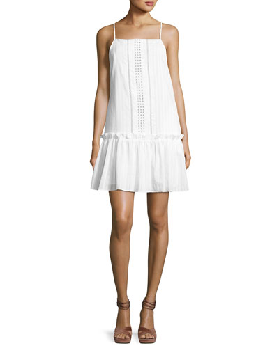 Cotton Voile Ruffled Mini Dress, White