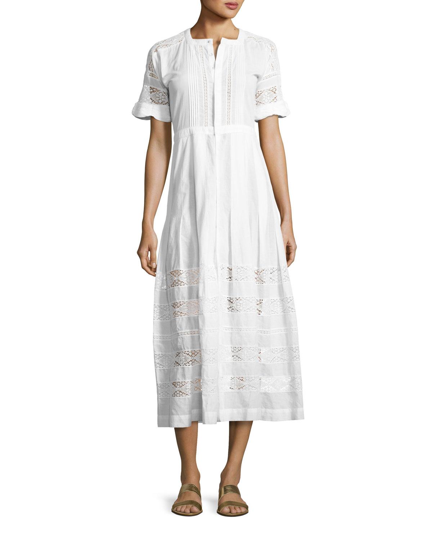 Edie Lace-Inset Cotton Dress, White
