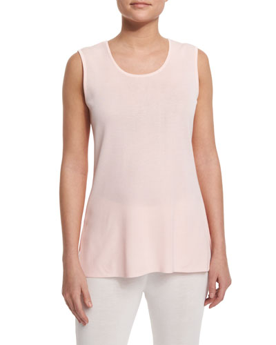 Round-Neck Sleeveless Tank, Rose Water, Petite
