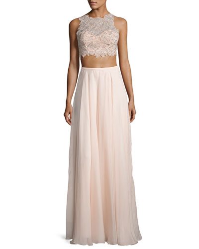 Sleeveless Beaded Lace Crop Top w/ Chiffon Skirt, Blush