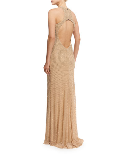 Sleeveless Studded Open-Back Column Gown, Nude