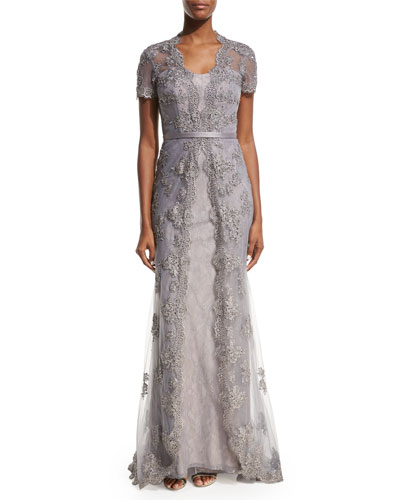 Short-Sleeve Embellished Tulle Overlay Gown, Silver