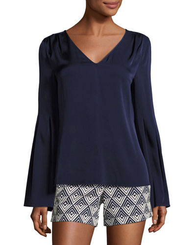Iolana Bell-Sleeve Stretch Silk Top, Blue