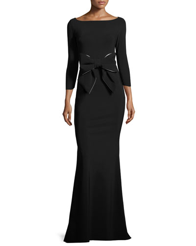 Brest 3/4-Sleeve Stretch Jersey Gown, Black/White