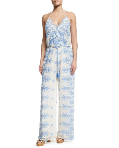 Bianca Roselle Scallop Lace Jumpsuit, White