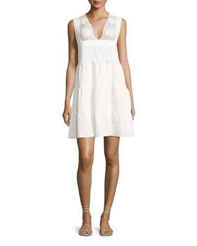 Luce Linen Lace-Inset Dress, White